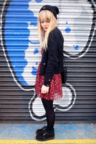 ruby red heart print Dahlia dress - black creepers Underground shoes