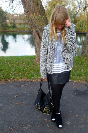 vintage cardigan - white Topshop top - black TopshopThrifted skirt - brown thrif