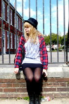 black Garage shoes boots - red Topshop shirt - white Topshop top - black H&M dre
