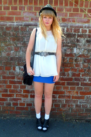 blue Topshop dress - black thrifted Jane Shilton bag - cream Topshop blouse - cr