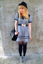 heather gray brogues next shoes - Dahlia dress - black H&M hat - black faux leat