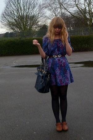 next shoes - floral H&M dress - Topshop bag - Dahlia belt