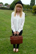 white vintage blouse - black Topshop jeans - black H&M hat - brown vintage purse