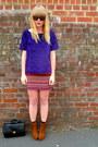 Black-vintage-jane-shilton-bag-red-asda-matalan-skirt-purple-velvet-next-top