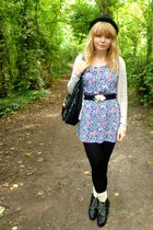 blue Topshop dress - beige H&M cardigan - beige Primark socks - black next purse