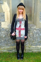 black Ebay boots - gray River Island dress - black asos tights