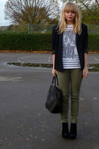 black Vintage Jacques Vert blazer - white Topshop top - army green next pants -