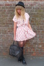 Light-pink-dahlia-dress-dark-brown-vintage-bag-light-blue-denim-henry-hollan