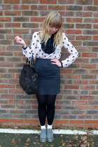 light pink H&M blouse - heather gray vintage skirt - heather gray next shoes - b