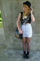 Ebay boots - H&M hat - vintage Jane Shilton bag - floral H&M skirt - diy The Pad