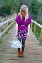 floral Dahlia dress - magenta Tu sweater - black H&M tights - cream Mischa Barto