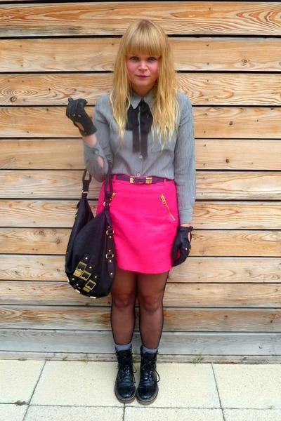 40309a20c17 hot pink H M skirt - black faux fur Cotton fields vintage hat