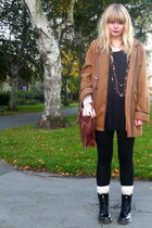 brown thrifted jacket - brown vintage purse - black Ebay boots