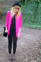 black H&M hat - black faux velvet Matalan leggings - hot pink vintage blazer - b