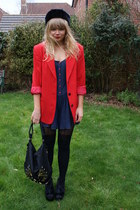 red vintage blazer - navy Miss Selfridge romper - black velvet next wedges