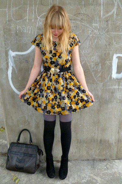 black socks - yellow Dahlia dress - black asos coat - heather gray asos tights