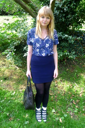 blue vintage blouse - blue Topshop skirt - black vintage bag - Labrynth Vintage