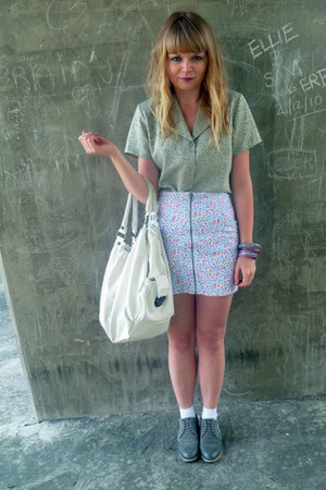 silver thrifted blouse - heather gray brogues next shoes - white Topshop bag