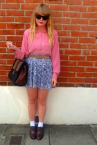 salmon vintage blouse - dark brown next shoes - brown vintage belt