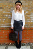 white vintage blouse - black ThriftedTopshop skirt - gray asos tights - black H&