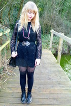 black Ebay boots - black thrifted dress - black Topshop tights - black jane shil