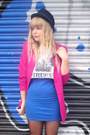 Blue-topshop-dress-black-h-m-hat-hot-pink-vintage-blazer