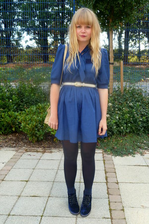 blue Dahlia dress - navy Topshop shoes - pink vintage blazer