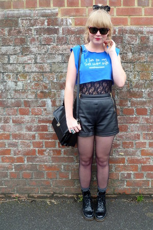 black leather Topshop shorts - black lace asos top - sky blue Frankie &amp; The Hear