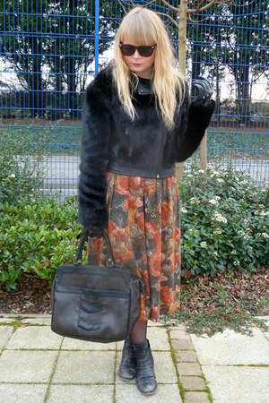 black Topshop jacket - brown vintage bag - tawny vintage skirt