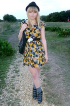 yellow Dahlia dress - black next bag - black H&M hat