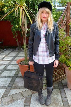 black BHS hat - black Miss Selfridge jacket - Topshop shirt - black Topshop jean