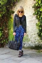 blue Monki jeans - black warehouse jacket