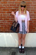 blue H&M skirt - dark brown next shoes - black next bag - white Ebay top