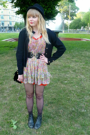 asos boots - red Topshop dress - floral Topshop dress - vintage cardigan
