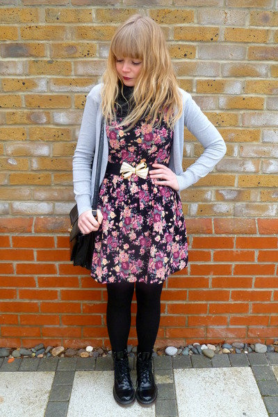 black Ebay boots - floral Dahlia dress - black snood random scarf - black vintag