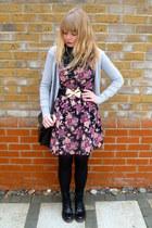 black Ebay boots - floral Dahlia dress - black snood random scarf - black vintag