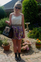 asos boots - next bag - floral River Island skirt - vintage belt - aunties top