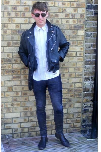 black leather vintage jacket - black Hudson boots - black corduroy Topman jeans