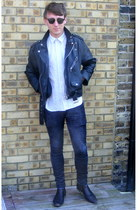 black leather vintage jacket - black Hudson boots - black corduroy Topman jeans