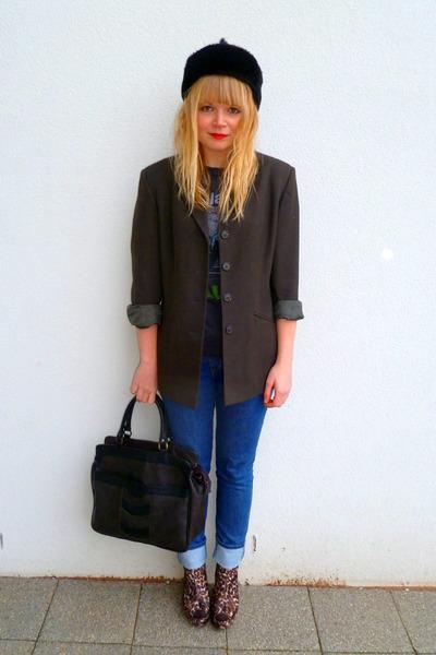 black faux fur BHS hat - leopard Love Label shoes - Levis jeans