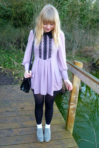 periwinkle next shoes - light purple Dahlia dress - black vintage coat - black v