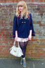 Cream-floral-dahlia-dress-navy-primark-tights-cream-mischa-barton-bag-teal
