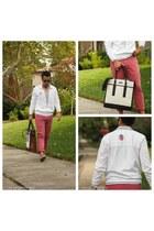 tawny coach bag - off white Hugo Boss jacket - bubble gum JCrew pants