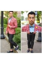 plaid ted baker blazer - Gucci shoes - lapel flower hookalbert accessories