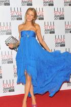 blue dress - violet heels