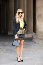 black shoes - black blazer - yellow top