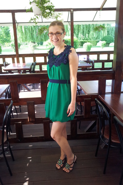green dress - black Graceland sandals