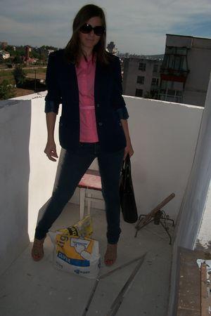 pink Orsay shirt - blue second hand blazer - blue H&M jeans - beige shoes - blac