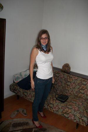 white t-shirt - blue H&M jeans - red shoes - blue scarf - black vintage