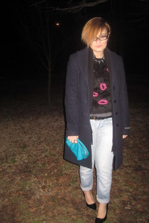 black dots Tally Weijl shirt - navy Esprit coat - Chinese Laundry jeans